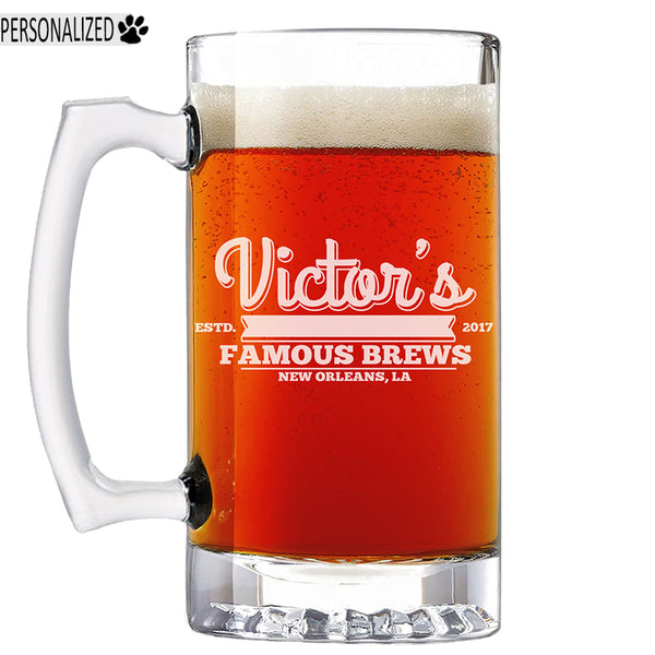 Victor Personalized Etched Glass Beer Mug 25oz