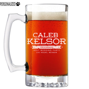 Kelsor Personalized Etched Glass Beer Mug 25oz