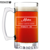 Mullen Personalized Etched Glass Beer Mug 25oz