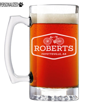 Roberts Personalized Etched Glass Beer Mug 25oz