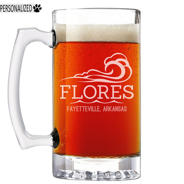 Flores Personalized Etched Glass Beer Mug 25oz