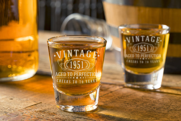 2pk Vintage 1951 Etched 2oz Shot Glasses - 70th Birthday Aged to Perfection - 70 years old gifts
