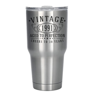 Vintage 1991 Etched 30oz Stainless Steel Insulated Vacuum Sealed Tumbler - 30th Birthday Aged to Perfection - 30 years old gifts