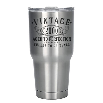 Vintage 2000 Etched 30oz Stainless Steel Insulated Vacuum Sealed Tumbler - 21st Birthday Aged to Perfection - 21 years old gifts