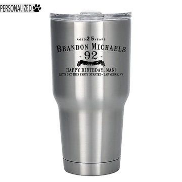 Brandon Personalized Etched Stainless Steel Tumbler 30oz