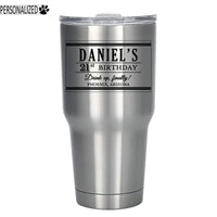 Daniel Personalized Etched Stainless Steel Tumbler 30oz