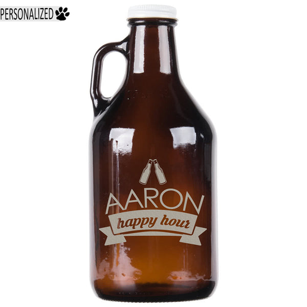 Aaron Personalized Etched Amber Glass Growler 32oz