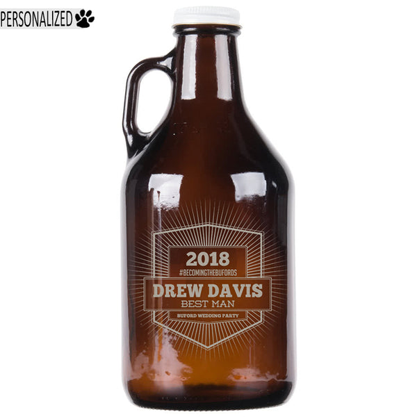 Davis Personalized Etched Amber Glass Growler 32oz