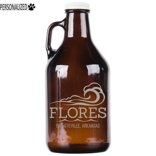 Flores Personalized Etched Amber Glass Growler 32oz