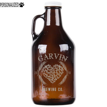 Garvin Personalized Etched Amber Glass Growler 32oz
