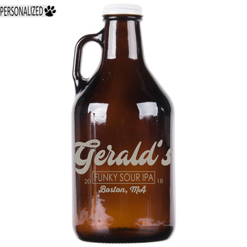 Gerald Personalized Etched Amber Glass Growler 32oz