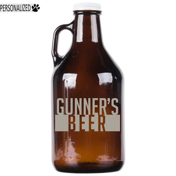 Gunner Personalized Etched Amber Glass Growler 32oz