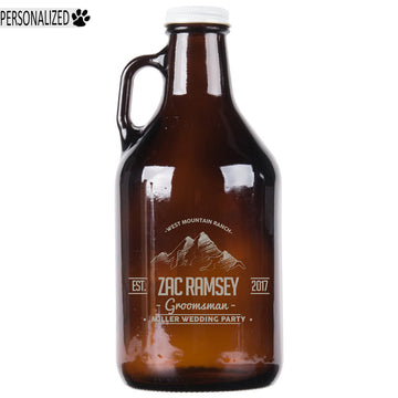 Ramsey Personalized Etched Amber Glass Growler 32oz