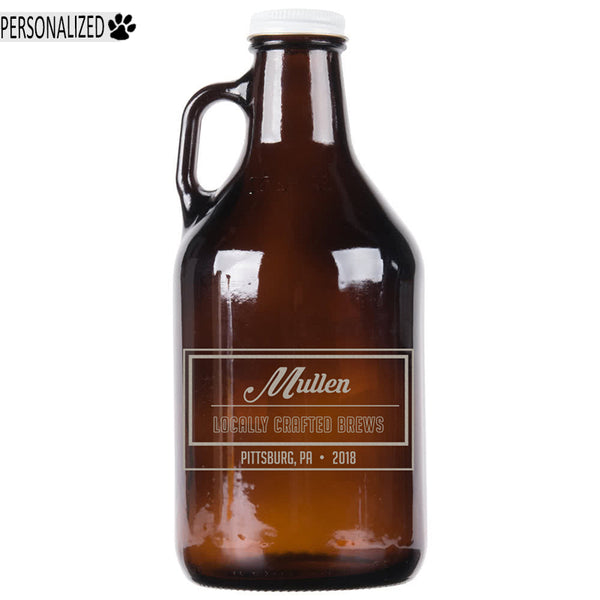 Mullen Personalized Etched Amber Glass Growler 32oz