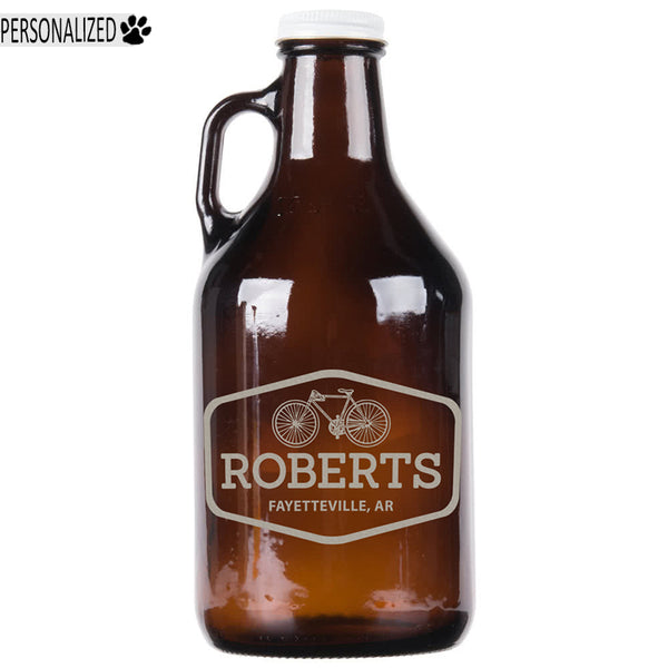 Roberts Personalized Etched Amber Glass Growler 32oz