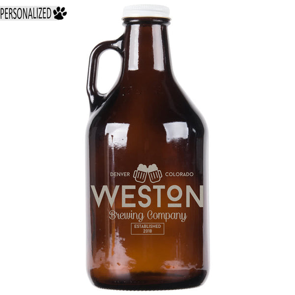 Weston Personalized Etched Amber Glass Growler 32oz