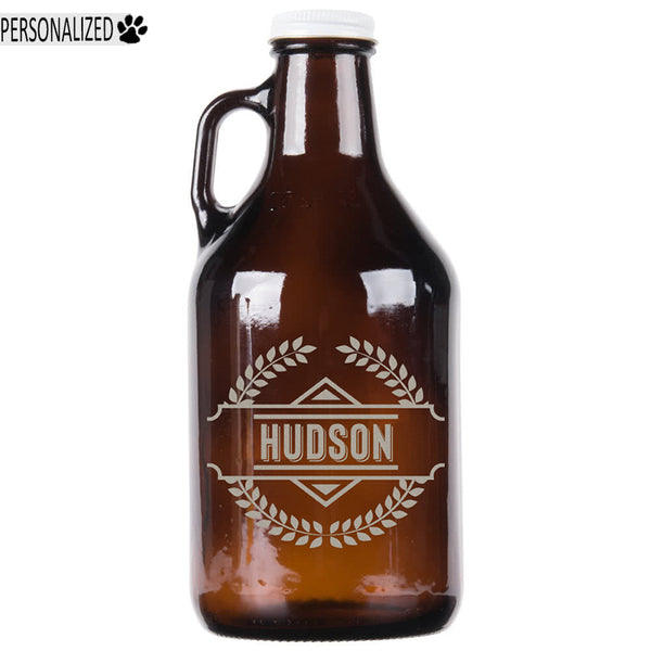 Hudson Personalized Etched Amber Glass Growler 32oz