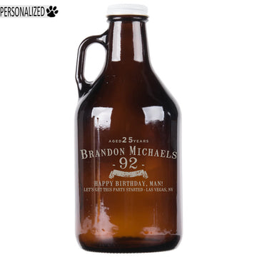 Brandon Personalized Etched Amber Glass Beer Growler 32oz