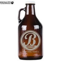 Bratton Personalized Etched Amber Glass Growler 32oz