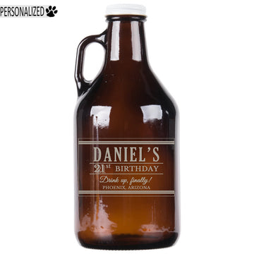Daniel Personalized Etched Amber Glass Beer Growler 32oz