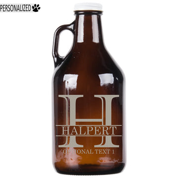 Halpert Personalized Etched Amber Glass Growler 32oz
