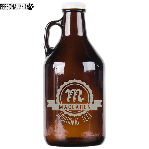 Maclaren Personalized Etched Amber Glass Growler 32oz