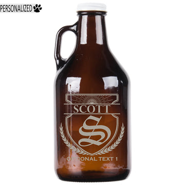 Scott Personalized Etched Amber Glass Growler 32oz