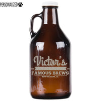 Victor Personalized Etched Amber Glass Growler 32oz