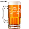 Roberts Personalized Etched Glass Beer Mug 34oz