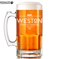 Weston Personalized Etched Glass Beer Mug 34oz
