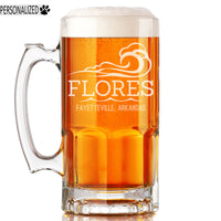 Flores Personalized Etched Glass Beer Mug 34oz