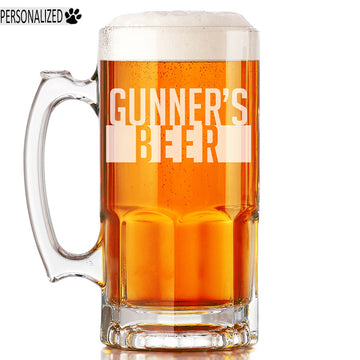 Gunner Personalized Etched Glass Beer Mug 34oz