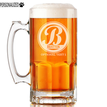 Bratton Personalized Etched Monogram Glass Beer Mug 34oz