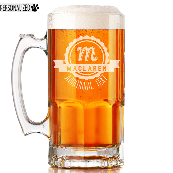 Maclaren Personalized Etched Monogram Glass Beer Mug 34oz