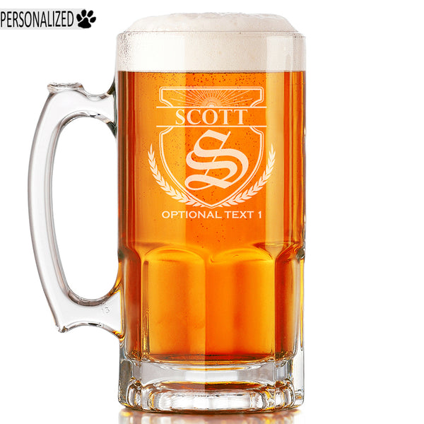 Scott Personalized Etched Monogram Glass Beer Mug 34oz