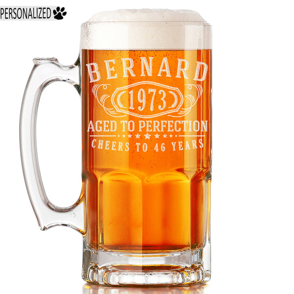 Bernard Personalized Etched Glass Beer Mug 34oz