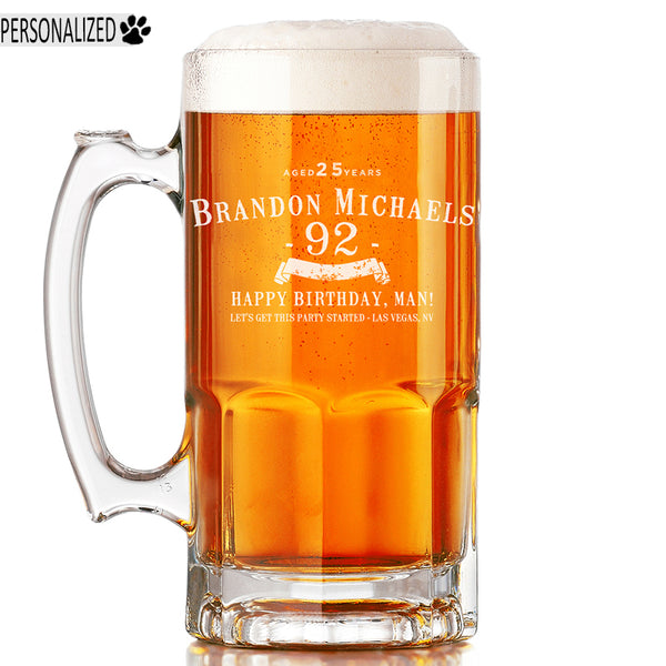 Brandon Personalized Etched Glass Beer Mug 34oz