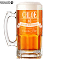 Chloe Personalized Etched Glass Beer Mug 34oz