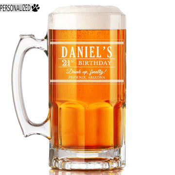 Daniel Personalized Etched Glass Beer Mug 34oz