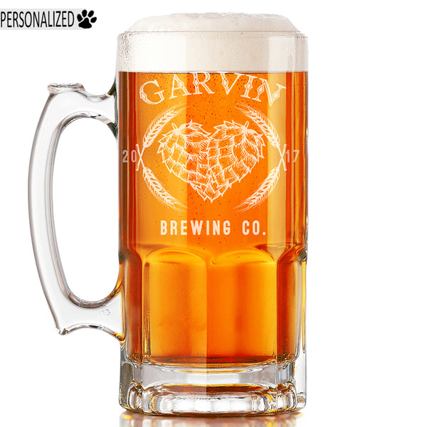 Garvin Personalized Etched Glass Beer Mug 34oz