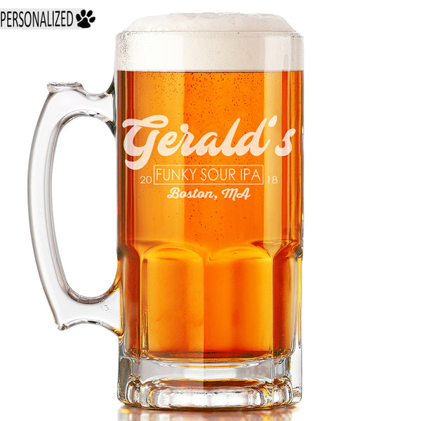 Gerald Personalized Etched Glass Beer Mug 34oz