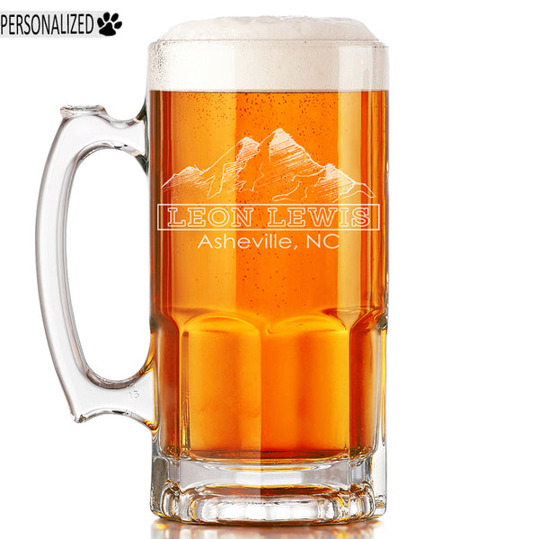 Lewis Personalized Etched Glass Beer Mug 34oz