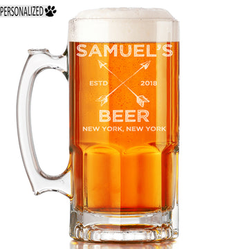 Samuel Personalized Etched Glass Beer Mug 34oz
