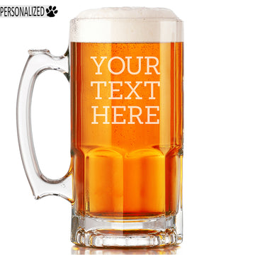 Your Custom Text Personalized Etched Beer Mug 34oz