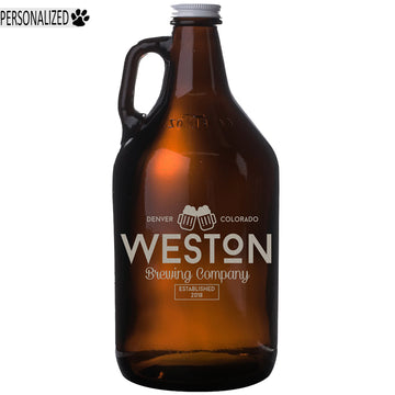 Weston Personalized Etched Amber Glass Beer Growler 64oz