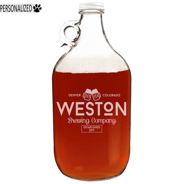 Weston Personalized Etched Clear Glass Growler 64oz