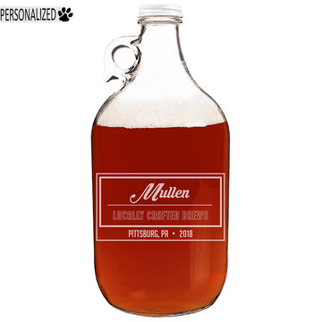Mullen Personalized Etched Clear Glass Growler 64oz