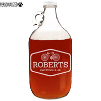 Roberts Personalized Etched Clear Glass Growler 64oz
