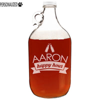 Aaron Personalized Etched Clear Glass Growler 64oz