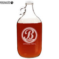 Bratton Personalized Etched Monogram Clear Glass Growler 64oz